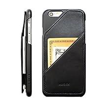 HUSKK Quickdraw - RFID Blocking Leather Wallet - iPhone 6+ Plus (5.5in) Wallet Case - Slim Wallet Credit Card Holder - Black RFID - [Q-6P-B-RFID]