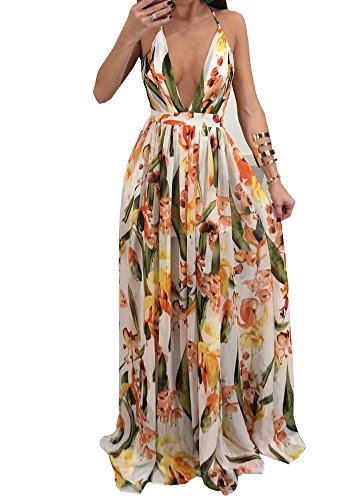 (Wancy Women's Chiffon Sexy Deep V Neck Backless Strap Floral Print Summer Beach Long Maxi Party Dress White 2X-Large)