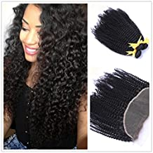"""Moresoo 7a 3 Bundles Brazilian Virgin Remy Human Hair Kinky Curly Hair Weft Extensions with 1 Piece Ear to Ear 13x4 Lace Frontal Closure with Baby Hair Bleach Knots Natural Color 14""""16""""18""""Hair+12"""" Closure"""