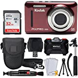Kodak PIXPRO FZ53 Digital Camera (Red) + 32GB Memory Card + Deluxe Point and Shoot Camera Case + Extendable Monopod + Lens Cleaning Pen + LCD Screen Protectors + Table Top Tripod – Accessory Bundle