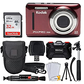 Kodak PIXPRO FZ53 16.15MP Digital Camera (Red) + 32GB Memory Card + Point and Shoot Camera Case + Extendable Monopod + Lens Cleaning Pen + LCD Screen Protectors + Table Top Tripod – Ultimate Bundle