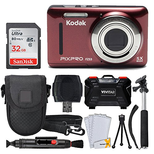 - Kodak PIXPRO FZ53 Digital Camera (Red) + 32GB Memory Card + Deluxe Point and Shoot Camera Case + Extendable Monopod + Lens Cleaning Pen + LCD Screen Protectors + Table Top Tripod – Accessory Bundle