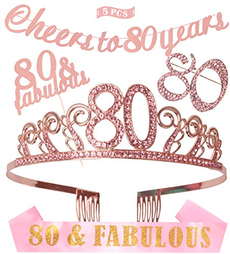 80th Birthday Decorations Party Supplies, Pink 80th Birthday Tiara, 80th Pink Satin Sash 80 and Fabulous, Pink Glittery Cheers To 80 Years Banner]()