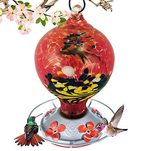 (Grateful Gnome - Hummingbird Feeder - Hand Blown Glass - Large Red Egg with Flowers - 36 Fluid Ounces)