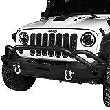 #6: Hooke Road 07-18 Jeep Wrangler JK Bull Bar Mid Front Bumper w/Built-in Winch Plate & OE Fog Light Holes