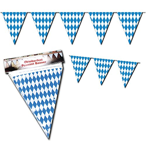Oktoberfest Party Decorations (Beistle 50970 Oktoberfest Bavarian Flag Pennant Banner 11 Inches by 12 Feet)