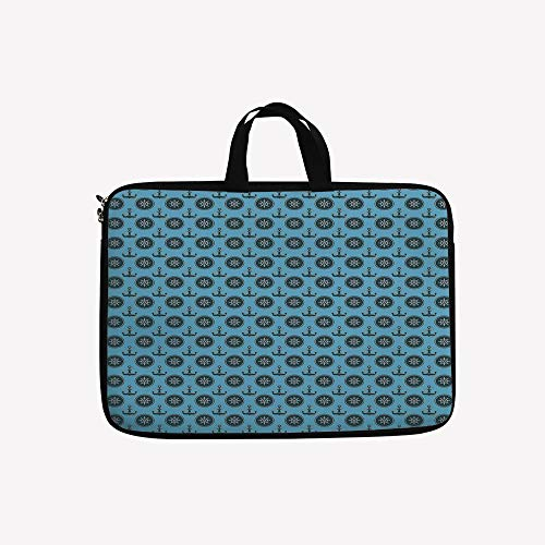 (3D Printed Double Zipper Laptop Bag,Ropes Pattern Symmetric Design Symbols,14 inch Canvas Waterproof Laptop Shoulder Bag Compatible with 14