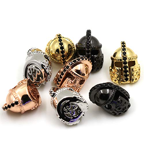 HOWEALTH 6pcs Spartans Helmet Beads, Roman Warrior Bead,Gold Silver Black Gun Rose Gold Charm Beads, Fit Mens Bracelet Making, jewlery Making (Mixed Color)