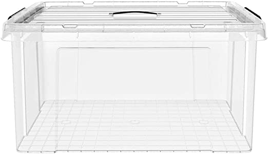 HUIQI Caja almacenaje Caja de Almacenamiento Transparente Caja de Almacenamiento de plástico Caja de Ropa 40L (51 * 39 * 25 cm) Cajas almacenaje plastico: Amazon.es: Hogar