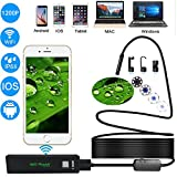 Wireless Endoscope, Kesouli 1200P Endoscope Inspection Camera IP68 Waterproof WIFI Borescope Inspection for Android,IOS and Windows System - BLACK, 5M