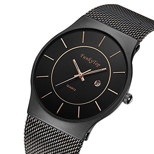 FunkyTop Mens Women Stainless Steel Mesh Watch Quartz Analog Fashion Casual Waterproof Ultra Slim Watch (men-black-2)