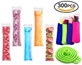 Image of 300 Pack Ice Popsicle Molds Bags - Zip-Top Disposable DIY Ice Pop Mold Bags - Summer Ice Pop Pouch with 4 Ice Pop Sleeves & 1 Silicone Funnel for Yogurt, Ice Candy, Otter Pops, Gogurt, or Freeze Pops