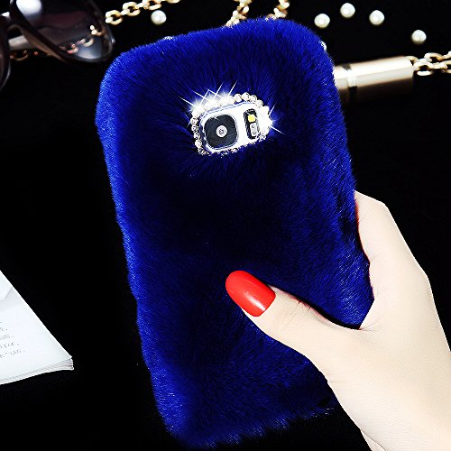 For Samsung Galaxy S7 Case, FLOVEME [Slim Fit] [Bling Diamond] Luxury Winter Soft Warm Faux Rabbit Fur Fuzzy Plush with Crystal Cute Bowknot Protective Back Cover for Girls Xmas Gift, Blue