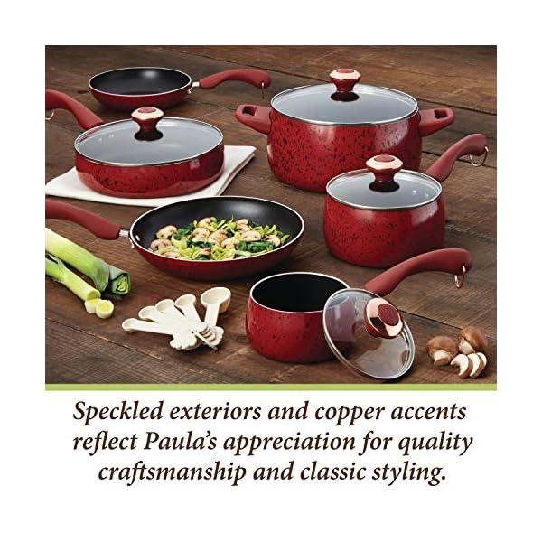 Paula Deen Signature Nonstick Cookware Pots and Pans Set, 15 Piece, Aqua Speckle 6
