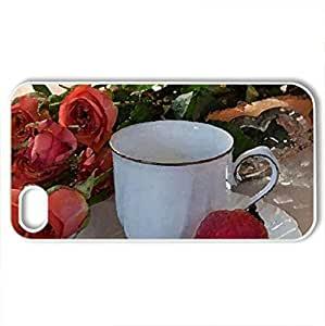roses, strawberrie teacCase For Samsung Galsxy S3 I9300 Cover (Flowers Series, Watercolor style, White)