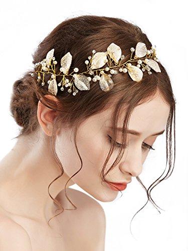 Missgrace Bridal Rhinestone Wedding Headband with Leaves Crystal Bridal Tiara Wedding Headpiece Rhinestone Wedding Crown ()