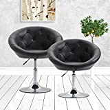 Acepro 2 Set Round Tufted Back Accent Chair Adjustable Swivel Lift Barstool Pub Chair Office Chair PU Leather, Black