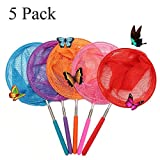 Bestie-Gear 1 Telescopic Butterfly Net, Perfect Catching Bugs Insect Small Fish, Extendable up to 34'' Kids (5 Packs)