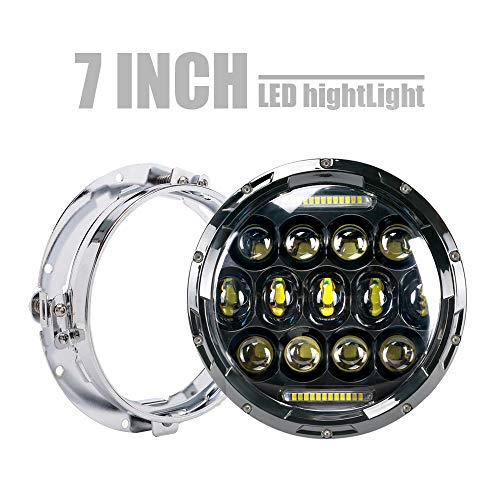 DOT 75w 7 Inch Round LED Headlight Projector Light Bulb DRL Headlamp W/Mounting Bracket Ring For Harley Davidson Ultra Classic Electra Street Glide Road King Heritage Softail Deluxe Slim Fatboy