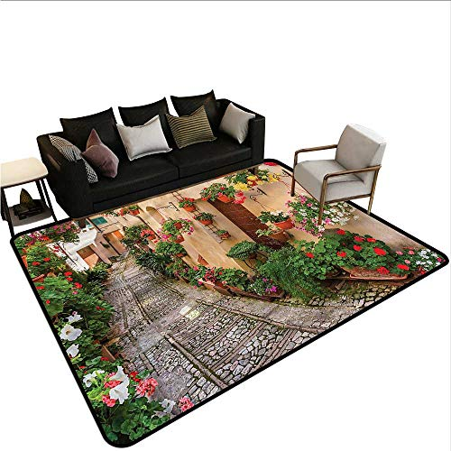 "Tuscan,Large Floor Mats for Living Room 60""x 72"" Rustic Wooden Door Flowers Kitchen Rugs Non Skid"