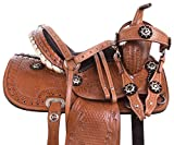 Acerugs 10″ 12″ 13″ 14″ Kids Pony OR Horse Size Western Barrel Racing Pleasure Trail Leather Tooled Youth Saddle TACK Set