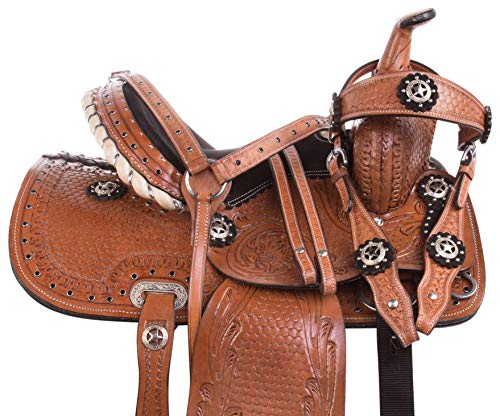 AceRugs 13″ Western Pony Horse Kids Youth Cowboy Cowgirl Pleasure Trail Barrel Racing Saddle TACK Bridle Breast Collar (13)