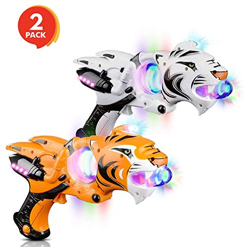 "ArtCreativity Light Up Spinner Tiger Blaster (Set of 2), Spinning LED and Cool Sound Effects, 11.5"" Toy Guns for Kids, Batteries Included, Great Gift Idea for Boys, Girls (Orange & White) -"