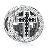 "925 Sterling Silver CZ Cross Charms "" With God All Things Are Possible"" Fit European Snake Bracelets"