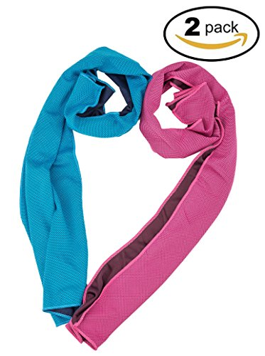 Azusa Cooling Towel, Cool Towel for Instant Cooling Relief, Chilling Neck Wrap, Ice Cold Scarf for Men & Women, 40x12, Microfiber Bandana, Evaporative Chilly Towel for Yoga Golf Travel