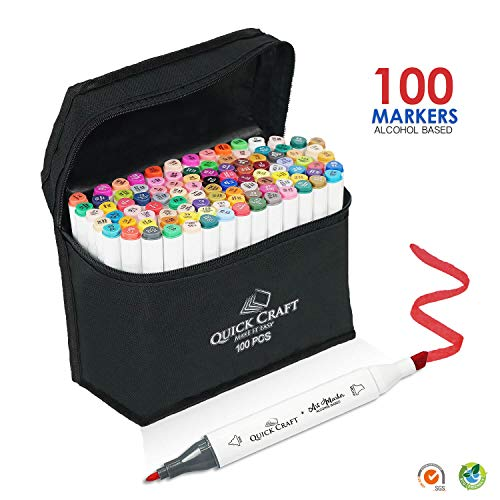 100 Colors Art Markers Set by Quick Craft USA - Dual Tip Alcohol Based Permanent Markers - Perfect for Drawing, Coloring, Sketching and Illustration - Safe for Kids - Comes with Black Carrying case.