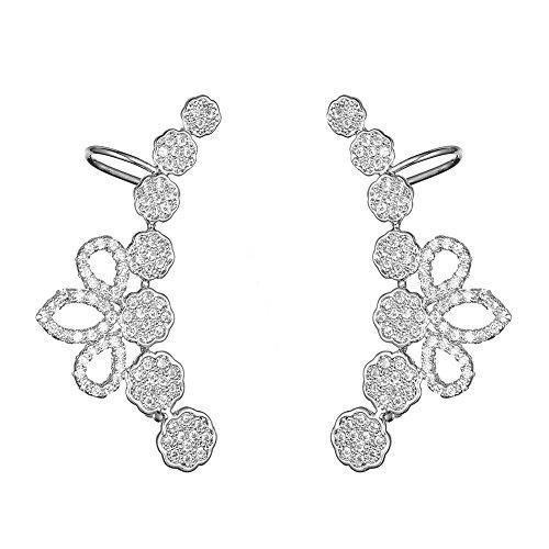KIVN Fashion Jewelry Stylish CZ Ear Cuff Ear Crawler Climber Earrings for Women(White)