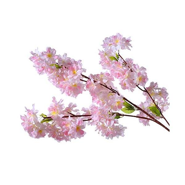 XNNSH Artificial Flower Light Pink Cherry Blossom Tree Vine Eucalyptus Leaves Artificial Flower Vine Garland for Wedding Ceremony Room Decoration Silk Sakura Flowers,(10FT/3m)