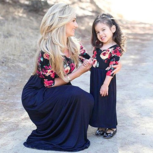 Witch Broom Crop (WensLTD Family Matching Clothes Mother Daughter Parent-Child Half Sleeve Floral Maxi Long Dress (2-3T, Blue-Girl))