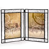 J Devlin Pic 402-46-2 Double Hinged Clear Glass Tabletop Photo Frame Holds Two 4x6 Vertical Pictures