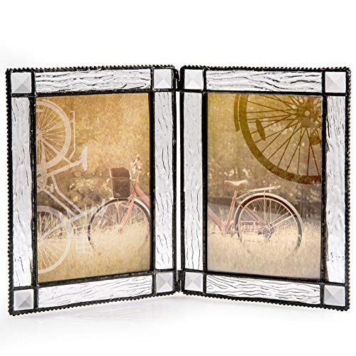 J Devlin Pic 402-46-2 Double Hinged Clear Glass Tabletop Photo Frame Holds Two 4x6 Vertical Pictures by J Devlin Glass Art