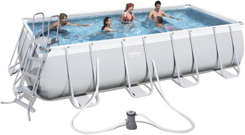 hellgrau Zubeh/ör 488 X 274 X 122cm Bestway Power Steel Rectangular Frame Pool Set mit Filterpumpe