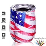 Wine Tumbler with Lid, Stainless Steel Stemless Wine Glass, Double Wall Vacuum Insulated Wine Cup for Coffee, Wine, Cocktails, Ice Cream, Champagne, Flag