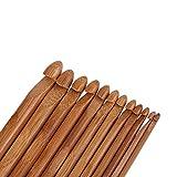 Agujas de tejer, ganchos de ganchillo de bambú carbonizados Set de agujas de tejer Agujas de tejer hechas a mano bricolaje agujas suéter tejer herramientas para el hogar