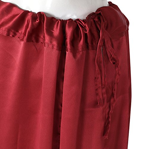 Shri Balaji Satin Silk Dark Red Skirt Indian Saree Petticoat Undercoat Lining Skirt Quilted