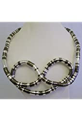 """36"""" Bendy Necklace, 8mm Thick, Silver Pewter Striped Finish. You Can Shape It to a Design of Your Own"""
