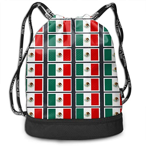 Zhangyi Coloring Pages Mexican Flag Printable Drawstring Backpack Sports Gym Cinch Sack Bag for Girls Boys Women Gymsack Sackpack ()