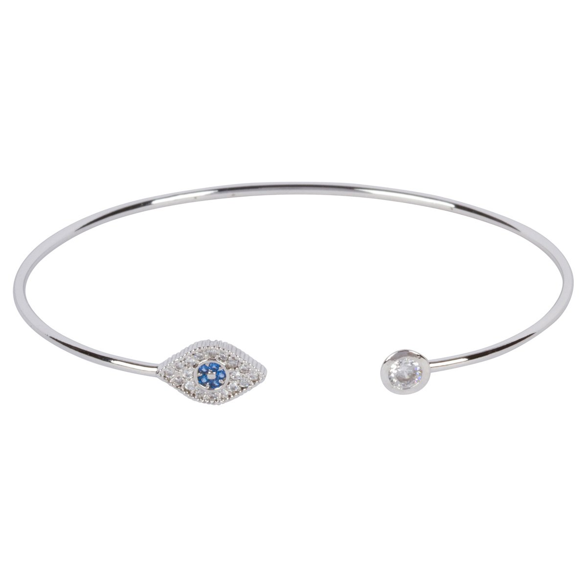 Brianna Alexis 925 Sterling Silver Pave Evil Eye Double End Bangle Bracelet (rhodium-plated-silver)