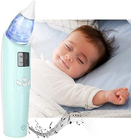 Aspirador nasal eléctrico, limpiador portátil de moco para bebés con luz LED suave y música suave para bebés y niños recién nacidos(Azul claro): Amazon.es: Belleza