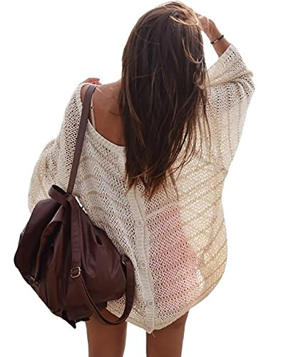 Bestyou® Women's Buttons Knit Crochet Cover up Tunic Beachwear Swimwear (Beige)