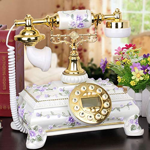 GJ European Fashion Caller ID Antique Phone Retro Creative Old-Fashioned Home Fixed landline (Color : Purple) from GJ
