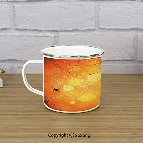 Halloween Enamel Camping Mug Travel Cup,Spiders Arachnid Insects Cobweb Thread Trap on Abstract Bokeh Backdrop Decorative,11 oz Practical Cup for Kitchen, Campfire, Home, TravelOrange Yellow White -