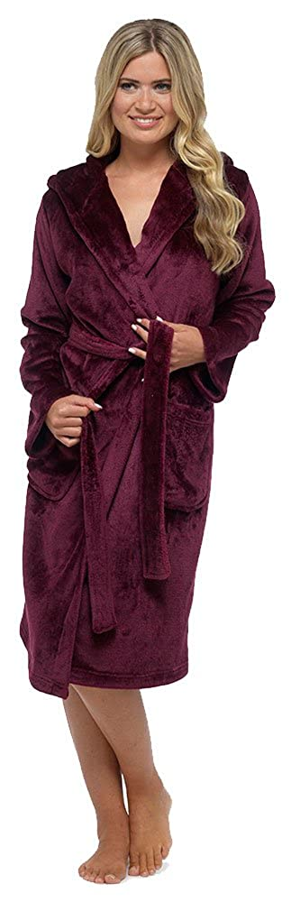 Foxbury Ladies Plain Luxury Fleece Hooded Dressing Gown Robe
