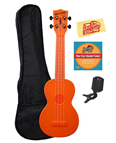 (Kala KA-SWF-OR Waterman Soprano Ukulele - Fluorescent Orange Gloss Bundle with Gig Bag, Tuner, Austin Bazaar Instructional DVD, and Polishing Cloth, Fluorescent Orange Gloss, Bundle w/ Gig)