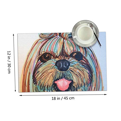 (Coolfun Shih Tzu Head Baby Dog Pupy Women Themed Print Pattern 4 Piece Set of Placemats Pc Party Kitchen Dining Room Home Table Place Mat Patio Holidays Decorations Decor Ornament)