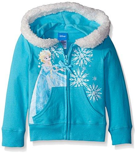 (Disney Little Girls Frozen Sherpa Lined Hoodie, Aqua Spray, 6X)